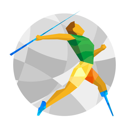 Physically disabled sportsman throwing javelin. Track-and-field athletics for people with disabilities - vector clip art. Flat sport infographics icon.