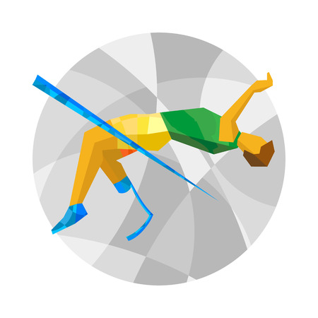 artificial leg: Physically disabled jumping athlete with abstract patterns. Track-and-field athletics high jump for people with disabilities - vector clip art. Flat sport infographics icon.
