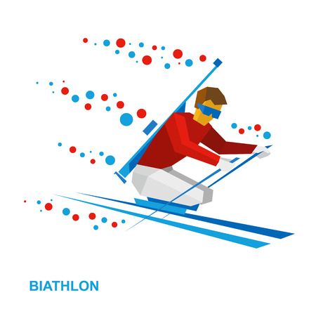 Winter sports - biathlon for athletes with a disability. Disabled skier with a rifle behind his back. Flat style vector clip art isolated on white background