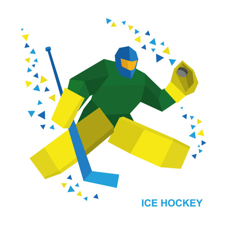 Winter sports - ice hockey. Cartoon player with hockey-stick catches the puck. Goalkeeper in helmet and with shields. Flat style vector clip art isolated on white background.