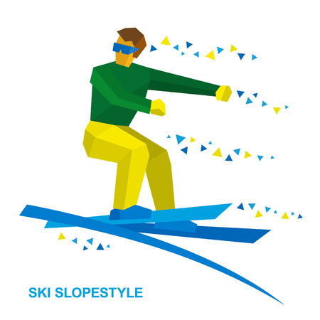 Winter sports - Ski Slopestyle. Freestyle skier jumps an obstacle. Sportsman performs a trick. Flat style vector clip art isolated on white background.