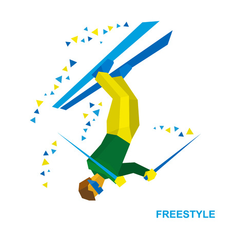 Winter sports - Freestyle skiing (half-pipe, superpipe or slopestyle). Cartoon skier during a jump. Aerialist on ski isolated on white background. Flat style vector clip art.