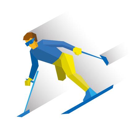 Deportes de invierno - esquí parapino. Esquiador discapacitado corriendo cuesta abajo. Deportista con discapacidad física esquiando desde la montaña. Plano de estilo vector de imágenes prediseñadas aisladas sobre fondo blanco. Foto de archivo - 72076254