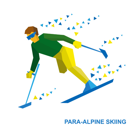 para: Winter sports - para-alpine skiing. Disabled skier running downhill. Sportsman with physical disabilities ski slope down from the mountain. Flat style vector clip art isolated on white background.