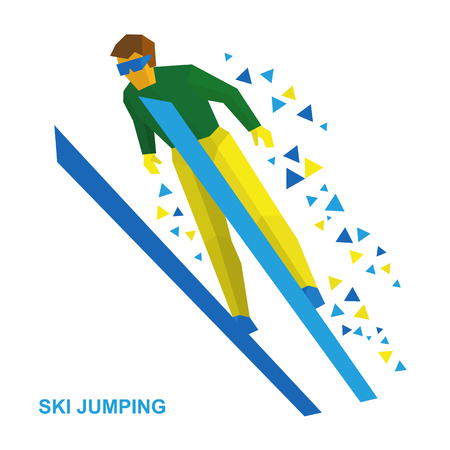 ski goggles: Winter sports - ski jumping. Cartoon skier in green and yellow during a jump. Flat style vector clip art isolated on white background