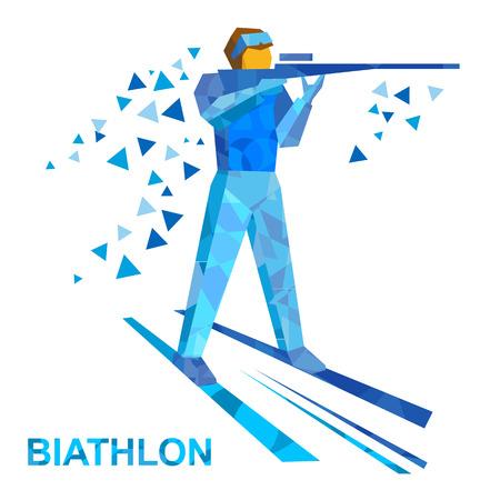 Wintersport - Biathlon. Cartoon biathlete schiet een geweer op ski's. Vlakke stijl vector illustraties geïsoleerd op een witte achtergrond Stock Illustratie
