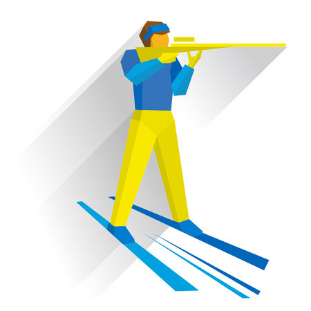 Winter sports - Biathlon. Cartoon biathlete shoots a rifle standing on skis. Flat style vector clip art isolated on white background