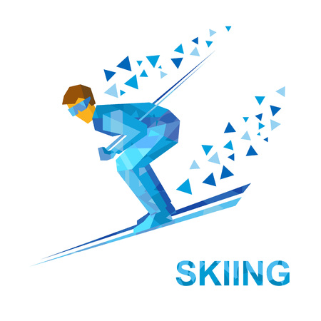 moving down: Winter sports - Skiing. Cartoon skier with blue patterns running downhill. Flat style vector clip art isolated on white background