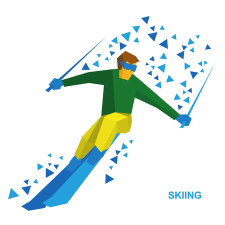 moving down: Winter sports - Skiing. Cartoon skier running downhill. Sportsman ski slope down from the mountain. Flat style vector clip art isolated on white background.