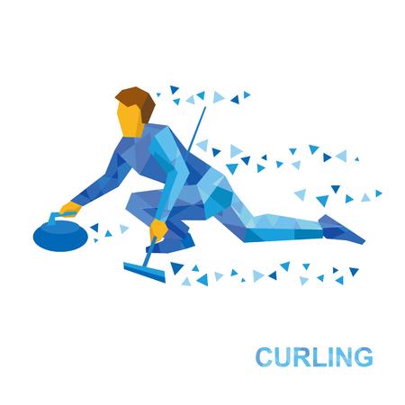 Wintersport - krullen. Cartoon player slide stone. Curler met bezem in de hand zittend op ijs. Platte stijl vector clip art geïsoleerd op een witte achtergrond. Stock Illustratie