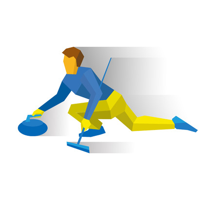 curler: Winter sports - curling. Cartoon player slide stone. Curler with broom in hand sitting on ice. Flat style vector clip art isolated on white background.
