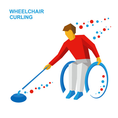 Winter sports - wheelchair curling. Curler with disabilities slide the stone. Physically disabled player with stick in hand on ice. Flat style vector clip art isolated on white background.