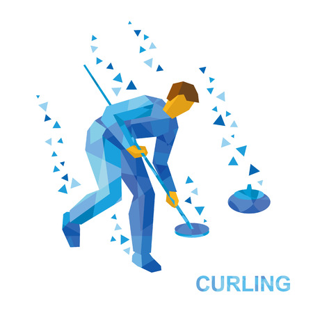 run way: Winter sports - curling. Cartoon player clear the way to stone. Curler with broom in hand run on ice. Flat style vector clip art isolated on white background.