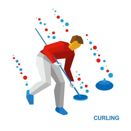 curler: Winter sports - curling. Cartoon player clear the way to stone. Curler with broom in hand run on ice. Flat style vector clip art isolated on white background.