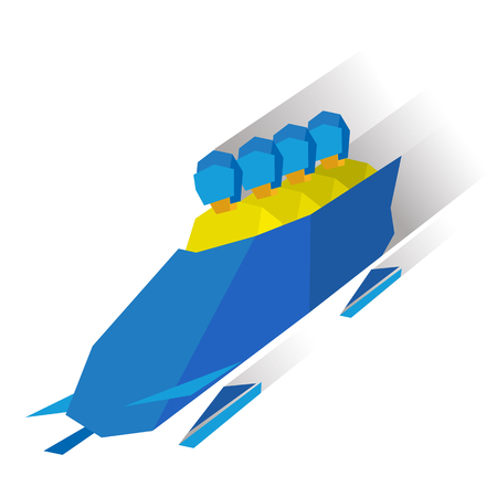 Winter sports - bobsleigh. Cartoon athletes ride in bobsled. Four sportsmen in yellow bobsledding. Flat style vector clip art isolated on white background.