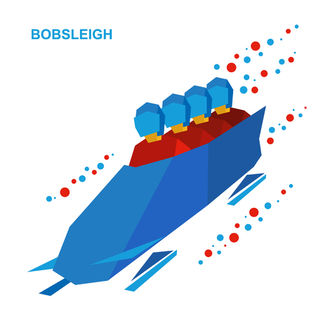 Winter sports - bobsleigh. Cartoon athletes ride in bobsled. Four sportsmen in red bobsledding. Flat style vector clip art isolated on white background.