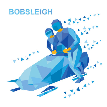Wintersport - bobslee. Cartoon atleten lopen in de buurt van bobslee. Sporters met blauwe patronen bobsleeën. Vlakke stijl vector illustraties geïsoleerd op een witte achtergrond. Stock Illustratie