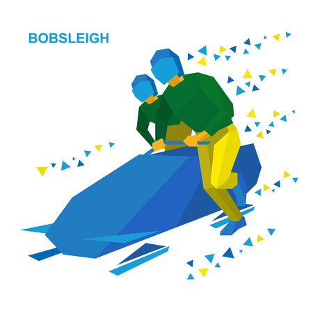 bobsleigh: Winter sports - bobsleigh. Cartoon athletes running near bobsled. Sportsmen in blue and yellow bobsledding. Flat style vector clip art isolated on white background.