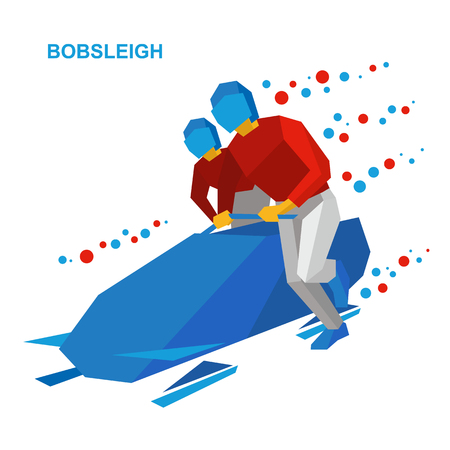 bobsled: Winter sports - bobsleigh. Cartoon athletes running near bobsled. Sportsmen in red and white bobsledding. Flat style vector clip art isolated on white background.
