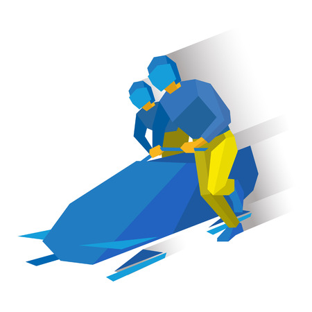 bobsled: Winter sports - bobsleigh. Cartoon athletes running near bobsled. Sportsmen in blue and yellow bobsledding. Flat style vector clip art isolated on white background.