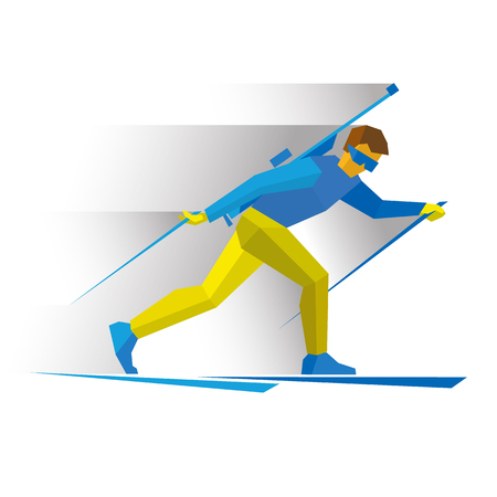 Winter sports - Biathlon. Cartoon biathlete going skiing with a rifle behind his back. Flat style vector clip art isolated on white background