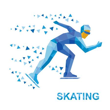 Wintersport - schaatsen. Cartoon skater loopt. Atleet met blauwe patronen loopt op skates. Vlakke stijl vector illustraties geïsoleerd op een witte achtergrond. Stock Illustratie