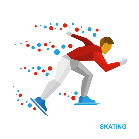 Winter sports - skating. Cartoon skater running. Athlete in red and white runs on skates. Flat style vector clip art isolated on white background.