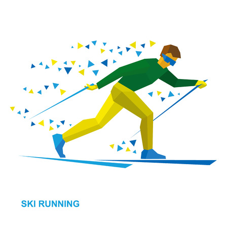Winter sports - Skiing. Cartoon skier running. Athlete in green and yelow runs on skis. Flat style vector clip art isolated on white background.