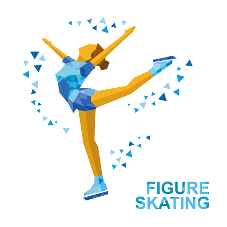 Winter sports - Ladies Figure Skating. Cartoon skating girl training. Ice show. Flat style vector clip art isolated on white  background. Ilustração