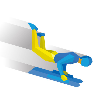 Winter sports - skeleton. Cartoon sportsman in blue and yellow jump on sled (bobsled). Flat style vector clip art isolated on white background Illustration