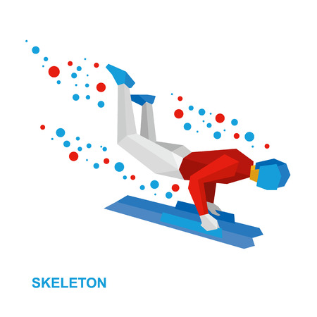 Winter sports - skeleton. Cartoon sportsman in white and red jump on sled (bobsled). Flat style vector clip art isolated on white background