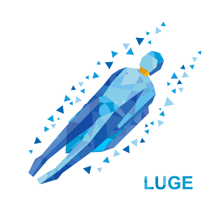 luge: Winter sports - luge (sledging). Cartoon sportsman in blue sledding. Flat style vector clip art isolated on white background Illustration