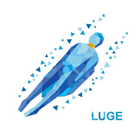 Wintersport - rodelen (rodelen). Cartoon sportman in blauwe rodelen. Vlakke stijl vector illustraties geïsoleerd op een witte achtergrond