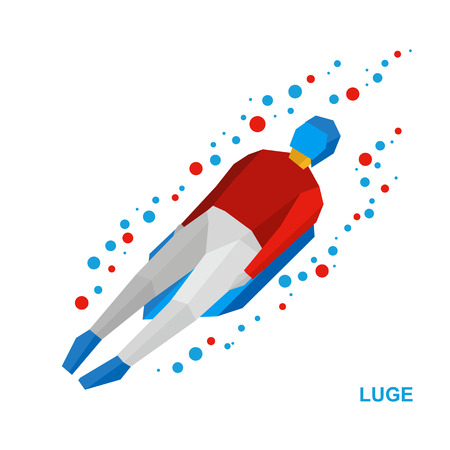bobsled: Winter sports - luge (sledging). Cartoon sportsman in white and red sledding. Flat style vector clip art isolated on white background