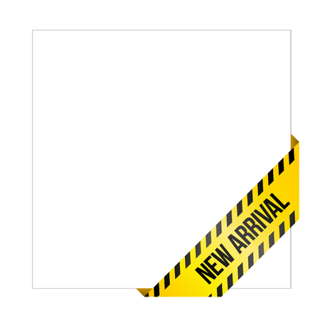 Yellow caution tape with words New Arrival. Corner label painted like danger ribbon. Product tag for online shops, car services, industrial and engineering companies. Isolated on white background. Illustration