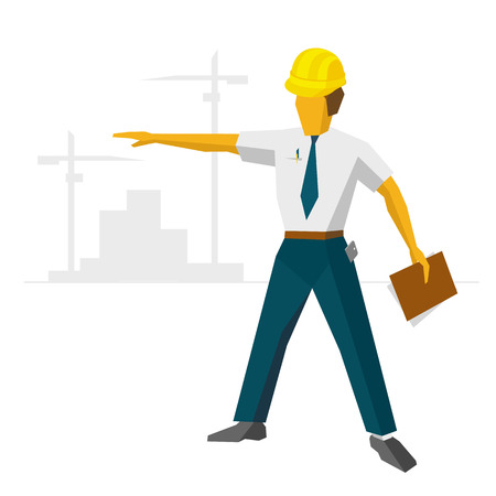 building site: Engineer builder in helmet show construction site. Architect with papers in hand and smartphone in pocket. Silhouettes of cranes and buildings at horizon. Flat vector clip art on white background.