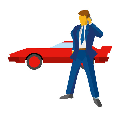 sportcar: Businessman or lawyer talking by phone. Red sport car at the back. Business concept - success, discussion, conversation. Red supercar at the back. Flat vector clip art on white background. Illustration