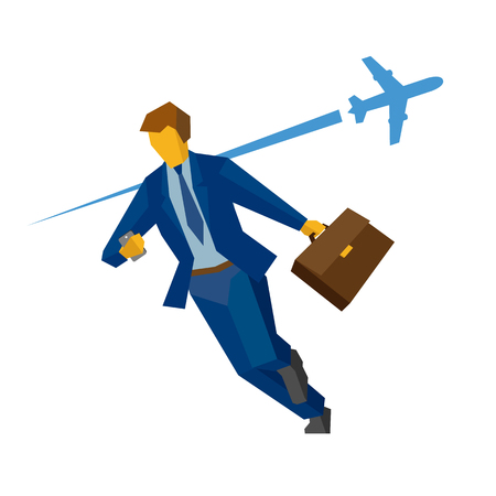 run off: Businessman with smartphone and case rushing. With flying airplane on the background. Business concept - hurry, lateness, lost time. Flat vector clip art.