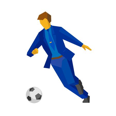 Futbolista del hombre de negocios que corre con la bola aislada en el fondo blanco. Gerente en traje azul jugando futbol. Concepto de negocio. Imágenes prediseñadas de vector plano. Ilustración de vector