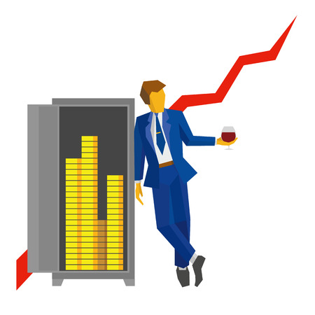 Businessman with wineglass in hand stands near the open safe with money. Growing chart at the back. Success concept - strategy, increase sales. Simple flat vector clip art on white background.