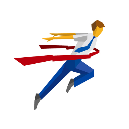 Running businessman crosses a finish line red ribbon. Business metaphors - success, win the race, leadership concept. Flat style vector clip art isolated on white background. Illustration