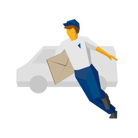 Running delivery man in blue uniform holding big postal envelope. Van silhouette at the back. Postal courier bring mail. Simple flat style clip art for infographics.