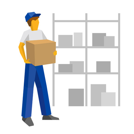 Delivery man in blue uniform holding carton box. Postal courier bring package. Lot of boxes silhouettes on the shelves at the back. Simple flat style clip art for infographics. Illustration
