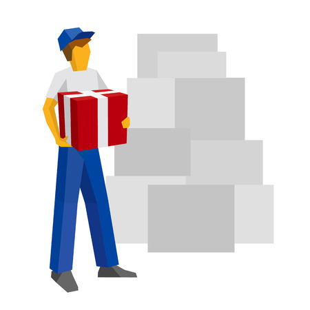 Delivery man in blue uniform holding red gift box. Postal courier bring package. Lot of boxes silhouettes at the back. Simple flat style clip art for infographics. Illustration