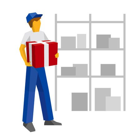 Delivery man in blue uniform holding red gift box. Postal courier bring package with present. Lot of boxes silhouettes on the shelves at the back. Simple flat style clip art for infographics.