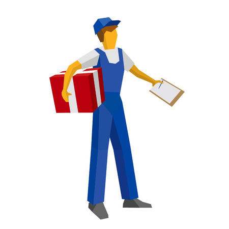 Delivery man in blue uniform holding red gift box and papers. Postal courier bring package and waiting for confirmation with documents. Simple flat style clip art for infographics.