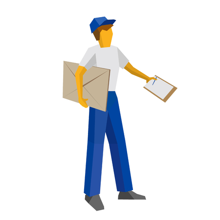 Delivery man in blue uniform holding big postal envelope and papers. Postal courier bring mail and waiting for confirmation with documents. Simple flat style clip art for infographics.