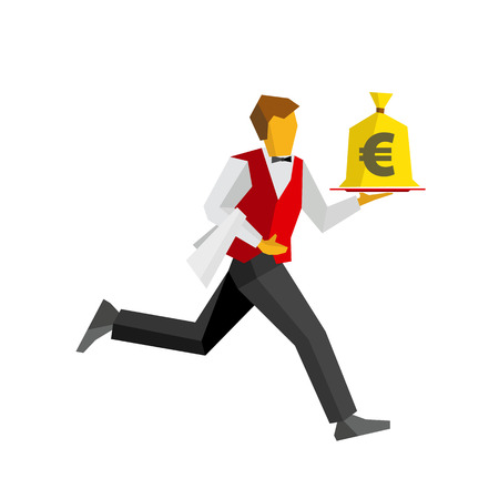 bagful: Waiter in colors of Germany flag runs with a money bag on a tray. Euro sign on a bagful. Business concept - easy money, cash in any time. Simple flat style vector clip art.