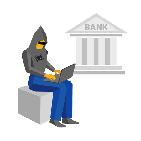 Computer hacker sitting with laptop. Bank building behind. Man in black hoody with spider and dark glasses working with computer. Cyber crime concept - flat vector illustration.