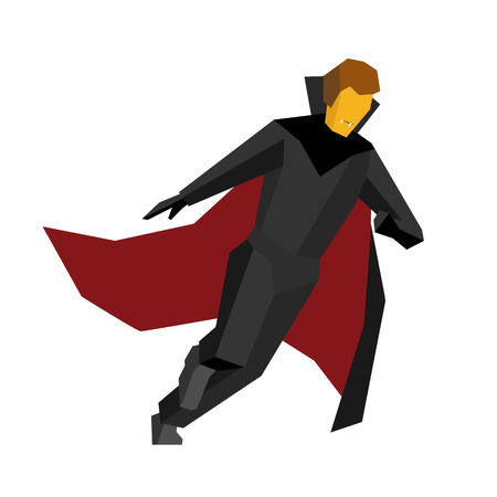 Running halloween vampire isolated on white background. In black suite and red cloak. Simple geometric shapes, flat stile vector clip art.